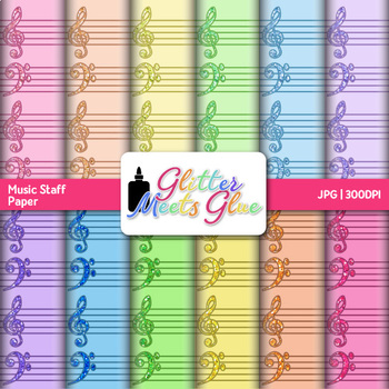 Music Staff Paper {Scrapbook Backgrounds for Elements of M