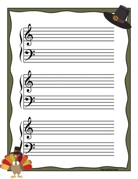 Music Staff Paper: Fall and Thanksgiving Themed
