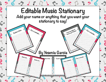 Music Stationary (Editable)