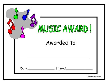 Music Student Award Certificate