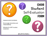 Music Student Self-Evaluation Form *Editable!*