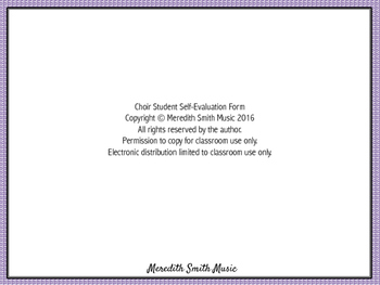 Music Student Self-Evaluation Form *Editable!*