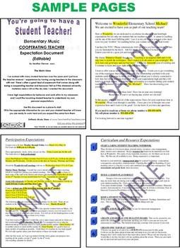 Music Student Teacher - Cooperating Teacher Expectations Editable Document