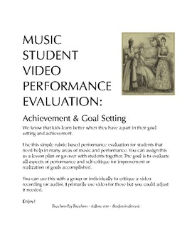 Music Student Video Performance Evaluation: Goal Setting and Achievement