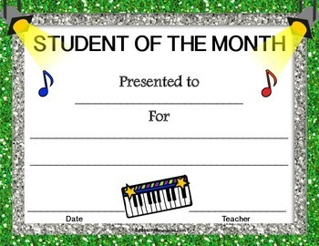 music student of the month certificates by music educator resources