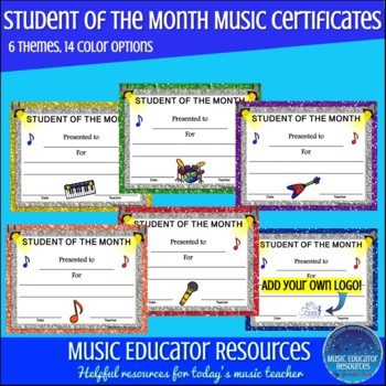 Music Student of the Month Certificates
