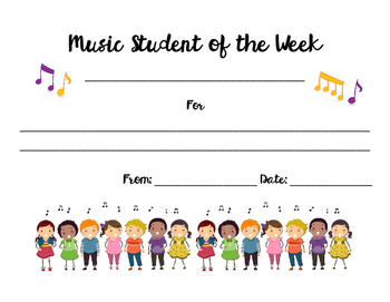 Music Student of the Week Certificate