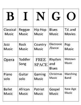Music Style Bingo