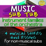 Music Sub Plans For Non Music Subs (Instruments of the Orchestra Music Sub Tub)