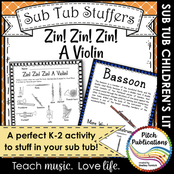 Music Sub Tub Stuffers: K-2 Substitue Plan - Zin! Zin! Zin