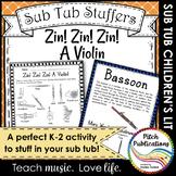 Music Sub Tub Stuffers: K-2 Substitute Plan - Zin! Zin! Zi