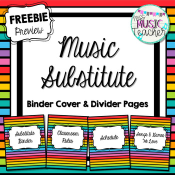 Music Substitute Binder Divider Pages PREVIEW (FREEBIE)