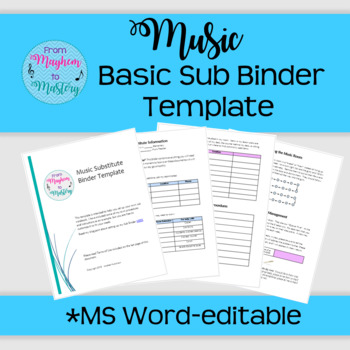 Music Substitute Binder Template