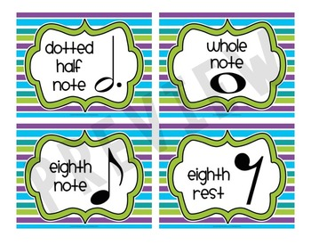 Music Symbol Study Cards {47 Cards with Bright Stripes & Ink-Friendly}