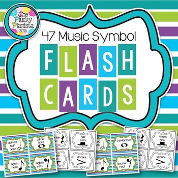 Music Symbol Study Cards {47 Cards with Bright Stripes & I