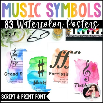 Music Symbol Posters {47 8.5×11 Watercolor Signs: Music Decor}