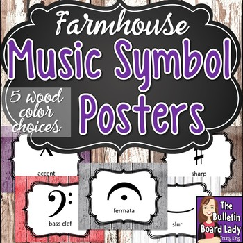 Music Symbol Posters - Farmhouse Theme