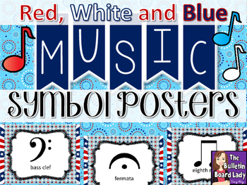 Music Symbol Posters - Red White and Blue