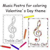 Music Symbol Posters for Coloring: Valentine's day