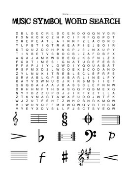 Music Symbol Word Search