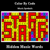 Music Symbols: Color By Code, Hidden Music Word Mosaics, Set 1