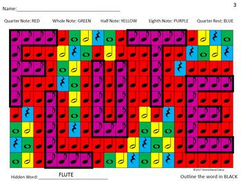 Music Symbols Color By Code Hidden Music Word Mosaics Set 1 Tpt