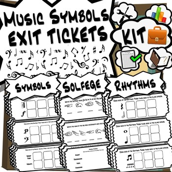 Music Symbols Exit Tickets Kit - 36 Music Exit Tickets!
