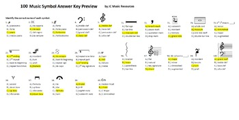 Music Symbols 100 Multiple Choice and 100 Matching Review