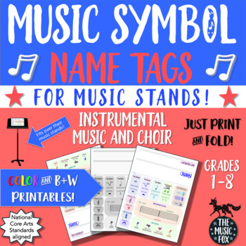 Instrumental Music & Choir Music Symbols Name Tags *BUNDLE*  (Grades 1-8)