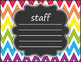 Music Symbols, Notes, & Rests Posters - Rainbow Chevron Chalkboard