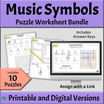 Music Symbols Worksheets | Basic Music Symbols BUNDLE