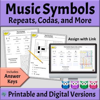 Music Symbols Worksheets   Repeats, Codas & More