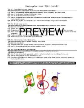 Music TEKS K-5 Checklist {REVISED for 2015-2016}