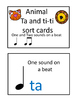 Music Task Cards- Ta Ti-Ti Sort- Animal and Objects sets