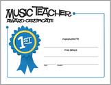 Music Teacher Award Certificate | Free Certificate (Digital Print)