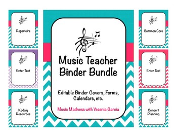 Music Teacher Binder Bundle with 6 Designs 2016-2017 (Editable)