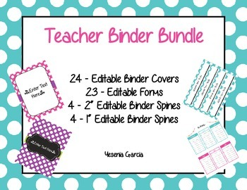 teacher binder covers spines forms editable in word ppt tpt