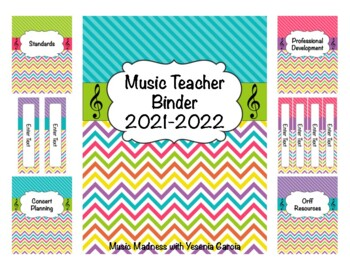 Stripe & Chevron Music Teacher Binder 2017-2018 (Editable) UPDATED YEARLY!
