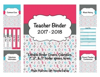 Music Teacher Binder/ Planner 2016-2017 (Editable) UPDATED