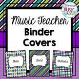 Music Teacher Binder Covers: Purple, Teal, Green & Blue Patterns
