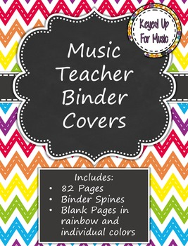 Music Teacher Binder Covers - Rainbow Chevron Chalkboard Design
