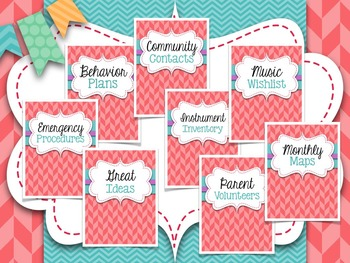 Music Teacher Binder Covers and Dividers {Coral with Turquoise}