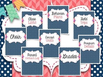 Music Teacher Binder Covers and Dividers {Navy with Coral}