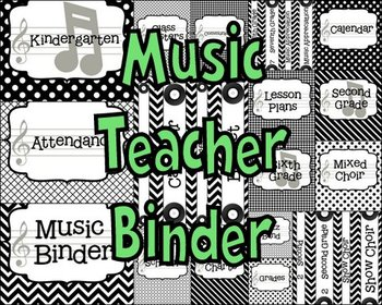 Music Teacher Binder Covers and Labels-Black and White Pat