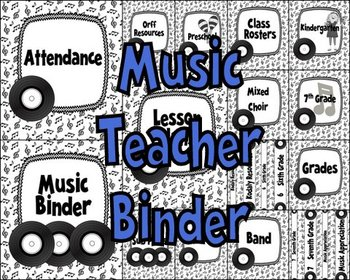 Music Teacher Binder Covers and Labels-Black and White Rec