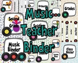 Music Teacher Binder Covers and Labels-White Background Rainbow Records Design