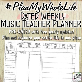Music Teacher Entire Life Planner and Organization Binder: