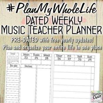 Entire Life Music Teacher Planner and Organization Binder:
