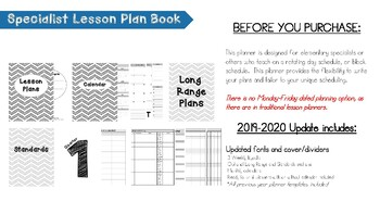 2017-2018 Specialist Lesson Plan Book
