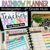 Music Teacher Planner 2021-2022 l Rainbow l Print/Digital